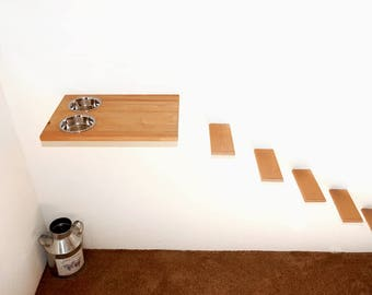 Combo Set Wall Mounted Cat Food Station 5 Wood Steps Stairs