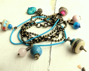 multi strands bracelet pink blue bracelet ethnic - boho jewelry gunmetal chain - mother of Pearl semi-precious stones - Tibetan bone beads - jewelry handmade