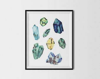 Crystals illustration print - Green - 8x10