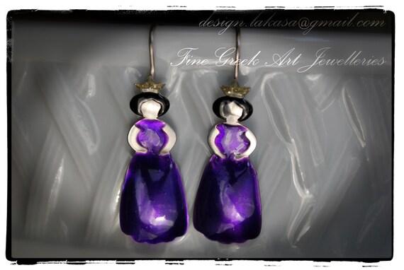 Enamel Princess Earrings Sterling Silver white Gold plated Handmade Jewelry Fine Greek Art Quality Best gift ideas her Woman Girlfriend Moda
