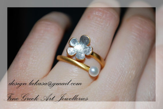 Flower Freshwater Pearl Handmade Ring Sterling Silver Gold plated Jewelry Best Gift Floral Design Love Anniversary Princess Woman pure amor