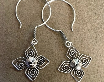 silver 925 Earrings  Studs  Flower   beautiful and genuine