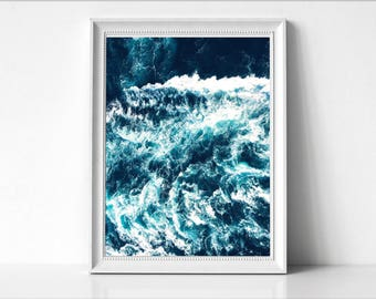 Ocean Waves Wall Art Print, Sea Waves Photo, Large Poster, Modern Minimal, Blue Waves, Beach Coastal Decor, Ocean, Water Abstract,