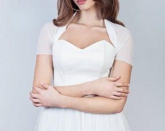 Short sleeve tulle bolero, simple bridal bolero