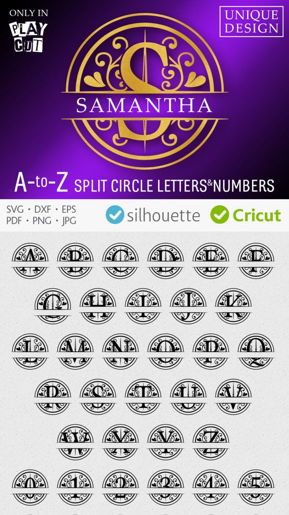 circle monogram svg round font svg split monogram svg cuttable