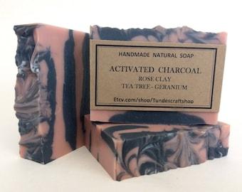Activated Charcoal natural handmade Soap, Detox Soap , Facial bar, Rose Clay Soap, Tea tree soap, Gentle exfoliate soap, Vegan soap, Acne
