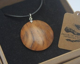 Wood Turned Oak Root, Necklace, 925 Sterling Silver Findings, Real Leather Cord, Circle, Dome, Unique, Handcrafted, Wooden Necklace