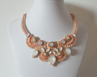 Embroidered statement necklace in salmon and coral color with crystals