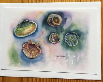 Watercolor note card, Seashells