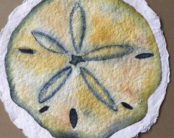 Original Sand Dollar Watercolor on 100% Rag Paper