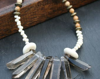 Polished smoky quartz and jasper necklace