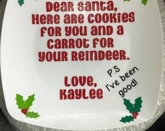 Cookie plate, Santa's cookie plate, Santa's milk, cookies for santa, Cookies and Milk for Santa Set, Santa Cookie Plate, Kids Christmas Gift