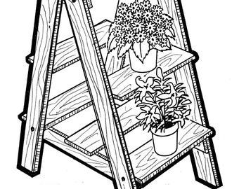 Plant Ladder  #704 - Woodworking - Craft Pattern