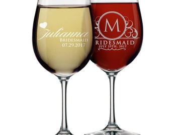 Bridesmaid Gift - Bridesmaid Wine Glasses - Personalized Wine Glass - Custom Wine Glasses Bridesmaid Wedding Party Wine Glasses
