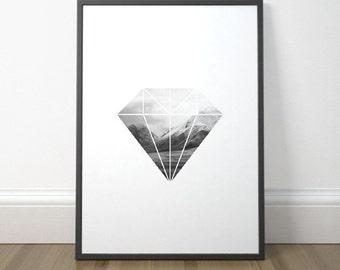 Modern Scandinavian Art, Diamond Print, Geometric Art, Minimalist Mountain Print, Black and White Print, Instant Download, Digital Print