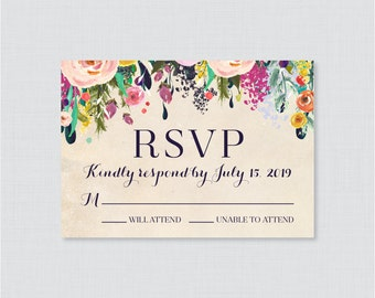Rustic RSVP Wedding Response Card and Recipe Cards Wedding