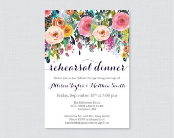 Printable OR Printed Rehearsal Dinner Invitations - Floral Rehearsal Dinner Invites, Colorful Flower Wedding Rehearsal Invitations 0003-B