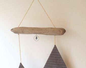 Driftwood sailboat mobile