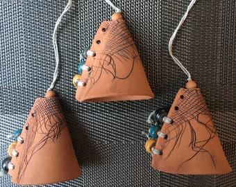 Handmade Ceramic Clay Textured Bells