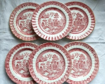 Set of Six Antique English Victorian Red / Pink Willow Pattern Tea Plates / Bread and Butter Plates c1890