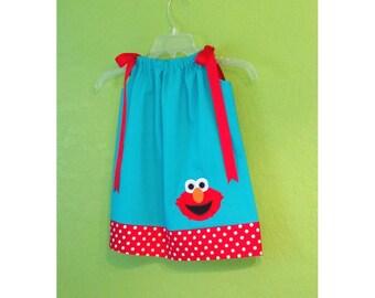 Toddler Elmo Dress // Elmo Outfit // Elmo Birthday Party Dress // Turquoise Blue