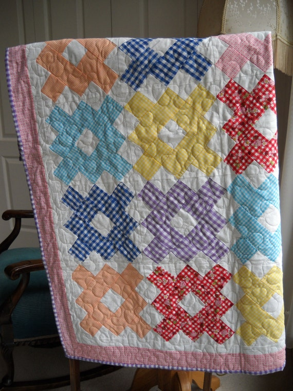 Country Gingham Check Quilt Girls Quilt Multicolor Checked