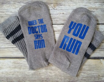 Doctor Who socks, Doctor says Run, Tadris, Doctor Who, Novelty Socks, Sonic Screwdriver, blue, comfortable, Eleventh doctor, Ninth doctor