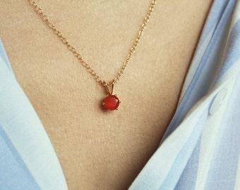 Gold Carnelian Necklace, Tiny Carnelian Pendant, Bright Orange Necklace, Dainty Necklace, Virgo Birthstone Necklace, Small Gold Necklace