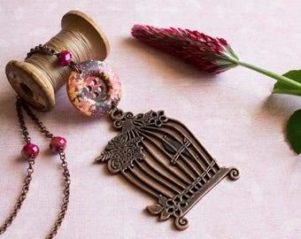 Boho necklace - Bohemian necklace - Boho jewelry - Pendant necklace - Birdcage pendant - Long necklace - Flower necklace - Autumn necklace