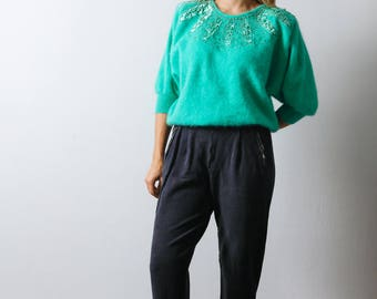 Vintage 80s Cropped Christmas Sweater