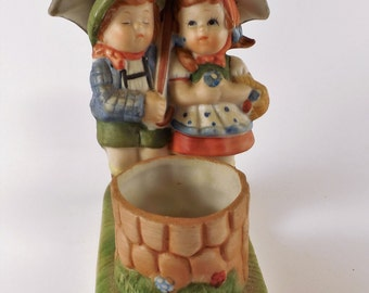 Vintage 1981 Figurine Candle Holder Boy Girl Children Umbrella Porcelain Ceramic