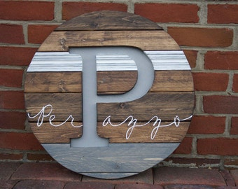 Pallet Last Name Wood Sign - Circle Custom Name Sign - Personalized Name Sign - Rustic Family Sign - Personalized Wedding Gift - Custom