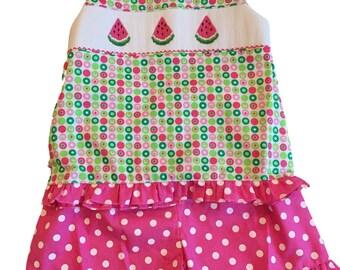 Summer Sale! Girls Watermelon Smocked Short Set - Girls Summer Smocked Outfit - 2 piece short set