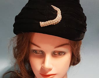 1960's Black Velvet Hat with Rhinestone Accent by Nadelle (Montreal)