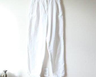 Vintage High Waist White Cotton Pants
