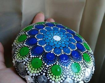 Large Hand-painted Mandala Stone (Blue + Green + Silver)