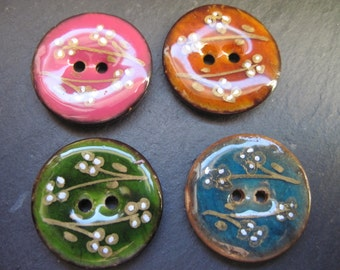 4 buttons set pieces coconut with epoxy resin floral flower pattern 2 hole light brown olive pink turquoise