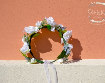 """The """"Blanca"""" floral halo crown // white floral crown, wedding headpiece, wedding crown, bridal crown, boho wedding,"""