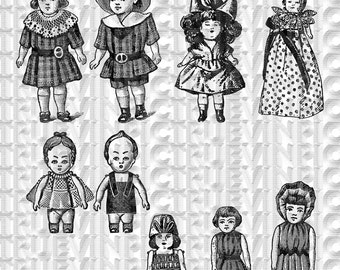 instant download,victorian dolls,clipart, scrapbooking,collage sheet,vintage picture,black and white,clipart, diy