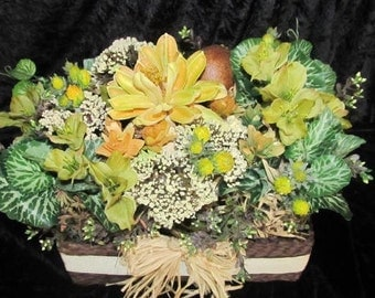 Silk and Dried Floral Centerpiece in Basket,Table top Artificial Arrangement Earth tones FREE SHIPPING