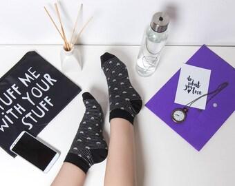 grey hearts ankle socks, low socks, cute socks, black women socks, casual socks, chic socks, gift socks, cotton socks, made in EU