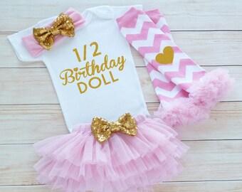 Half Birthday Girl Bodysuit, Six Month Birthday, Cake Smash Shirt, Half Birthday Girl Outfit, 1/2 Birthday Outfit, 6 Month Birthday Girl,