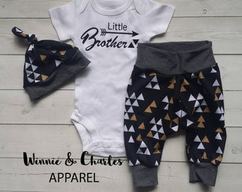 Little Brother Coming Home Outfit, Sibling Love Clothing Set, Triangle Leggings, Baby Hat