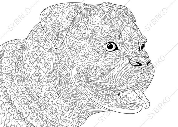 bulldog boxer coloring page for national pet day