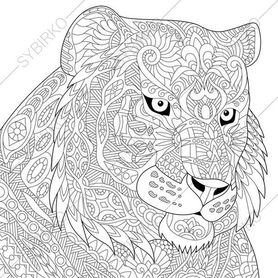 Adult Coloring Page Tiger Zentangle Doodle Book For Adults Digital Illustration Instant Download Print