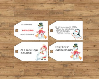 Editable Xmas Tags Printable Christmas Gift Tags Digital Instant PDF Xmas Present Tags Personalized Customize Holiday Gift Tags Card Santa
