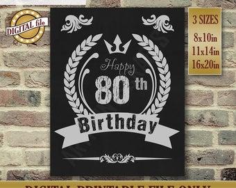 80th Birthday Gift, Birthday Sign, Birthday Gift, Chalkboard Poster, Birthday Centerpiece Printable Birthday DIGITAL FILE Only JPG