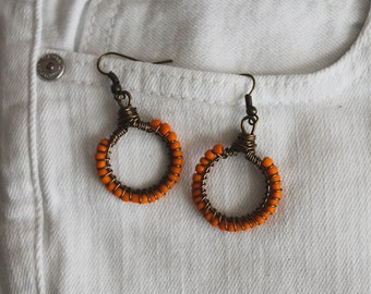 Orange Wire Wrapped  Hoop Earrings