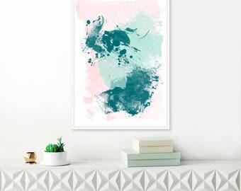 Pink and Teal Modern Art Print, Printable Original Wall Art