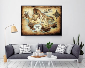 Neverland Map, Peter Pan, Peter pan nursery, Disney Nursery, Birthday Gift, Boy Birthday, Captain Hook, Boy Nursery